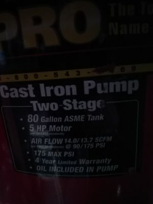 80 gal 5hsp. 2Stage HuskyPro Air Compressor for Sale in Concord, CA