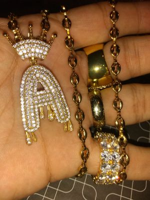 Letter A Charm with Puffy Link Chain and Bracelet 📪 Shipping available for Sale in Poinciana, FL