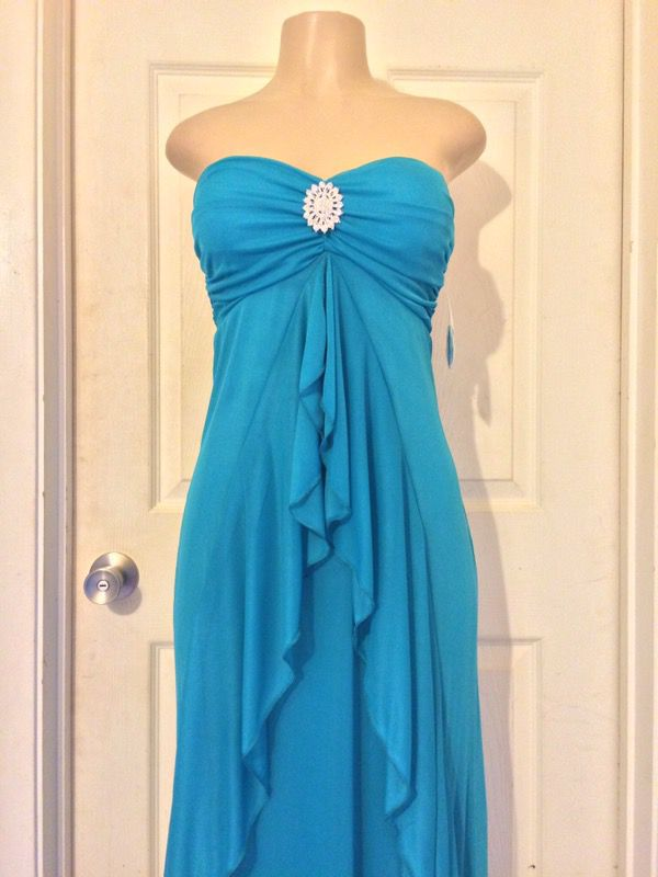 *NEW Teal Rhinestone Strapless Dress •M