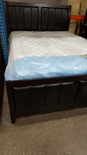 Brand New Queen Size Wood/Leather Bed Frame + Mattress Set for Sale in Silver Spring, MD