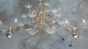 Solid polished brass chandelier with Crystal and notching lighted lamps for Sale in Gibsonia, PA
