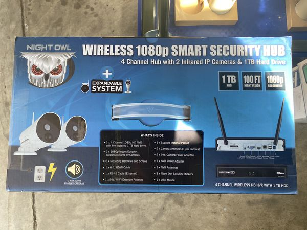 Night Owl 4 Channel 1080p Wireless Smart Security Hub with 1 TB, 2 Cameras