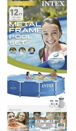 Intex 12ft Pool!Metal Frame Above Ground Pool with Filter Pump NEW for Sale in Fairfax, VA