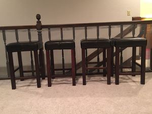 4 black leather stools in good condition for Sale in Edmonds, WA