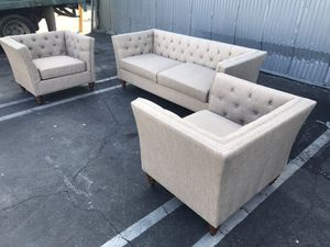 3-pc sofa set | 2 chair & couch | wheat color nailhead tufted | small tear on couch for Sale in Rosemead, CA
