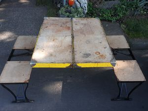 Vintage 1933 Milwaukee folding chair and table picnic set(Folds into a suitecase!) for Sale in Portland, OR