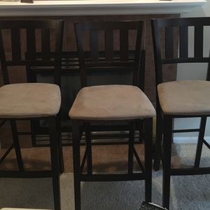 3 Microfiber High Back Wooden Bar Stools for Sale in Bothell, WA