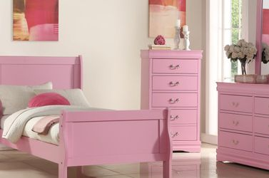 New! Pink Twin Size Complete Bedroom Set *FREE SAME-DAY DELIVERY* for Sale in Columbia,  MD