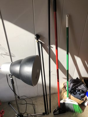 Eq3 adjustable lamp, broom, mop stick , curtain rods for sale for Sale in Hayward, CA