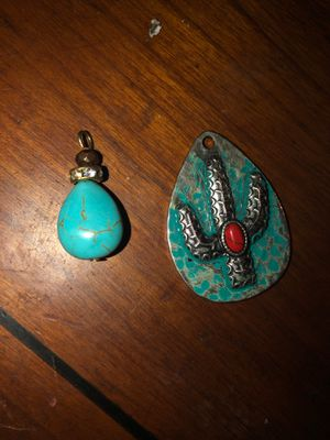 Turquoise bead charm and cactus pendant with red stone in middle for Sale in Plainfield, IL