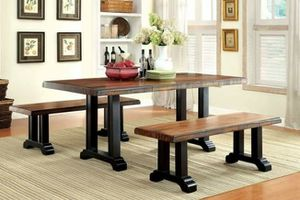 Tobacco Oak Finish 3 PIECE BREAKFAST DINING TABLE BENCH Rich Grain Details for Sale in San Diego, CA