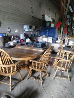Oak pedestal table 4 chairs for Sale in Cornersville, TN