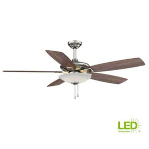 Hampton Bay Menage 52 in. Integrated LED Indoor Low Profile Brushed Nickel Ceiling Fan with Light Kit for Sale in Houston, TX