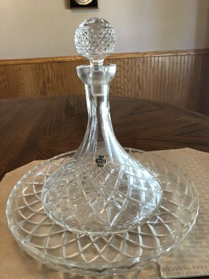 WARA hand cut crystal wine decanter and plate. Two candle holders. for Sale in Whitesboro, TX