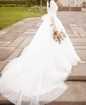 Custom Lace Quarter Sleeve Wedding Dress Size 2 XS for Sale in Federal Way, WA