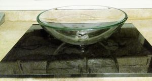 Glass bowl bathroom sink with black marbal counter..very heavy for Sale in East Point, GA