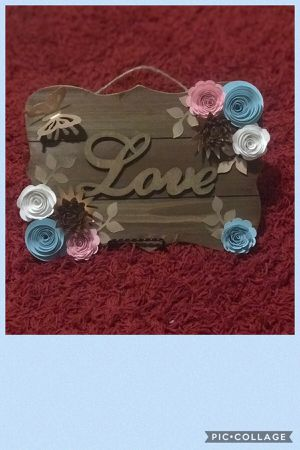 Wood paper flower plaque for Sale in Lakeland, FL