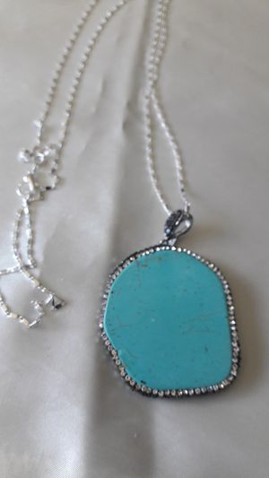 """Turquoise pandent and Sterling Silver chain 30"""" long for Sale in Decatur, GA"""