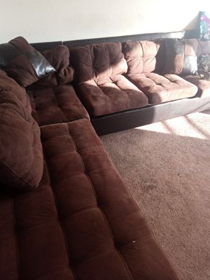 Chocolate Brown Sectional Couch w/ Leather (2pieces) for Sale in San Leandro, CA