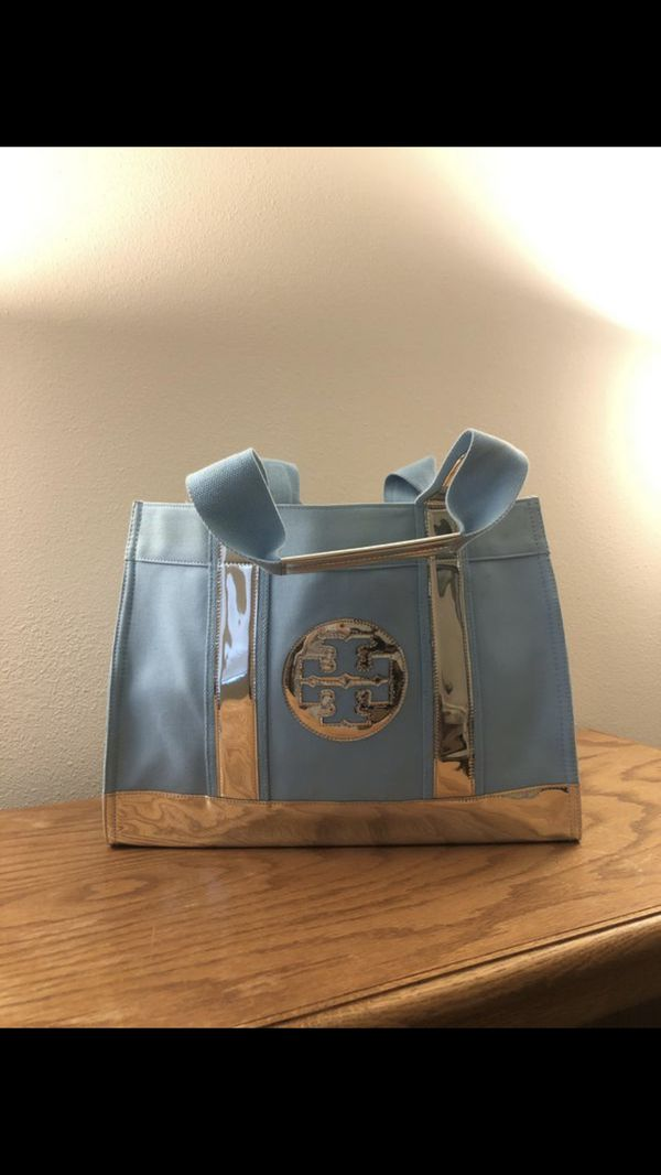 •LOW PRICE MOVING• $390 + TAX RETAIL TIFFANY BLUE TORY BURCH RARE TOTE