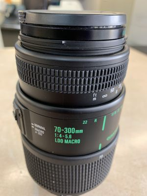 Quantaray 70-300mm f/4-5.6 Macro 1:2 Auto Focus Zoom for Nikon AF film and digital cameras for Sale in Raleigh, NC
