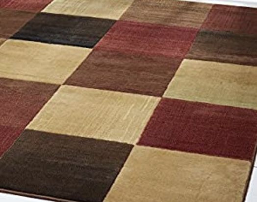 "Home Dynamix Catalina Bookings Contemporary Area Rug 5'3"" x 7'2"" Geometric Brown Beige Orange"
