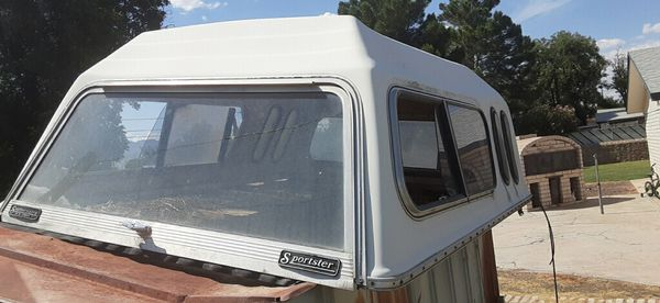 Small truck fiberglass camper shell- dimensions are 60 inches x 76 inches long