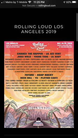 2 rolling loud artist guest list for Sale in Diamond Bar, CA