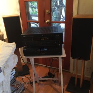 Two matching KG2 S Light Oak Klipsch speakers & stands for Sale in Los Angeles, CA