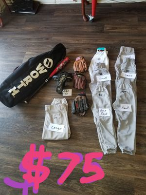 Baseball glove pants cleats bat and bag for Sale in Chino, CA