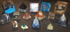 Orgonite 18pc Lot / Set Handcrafted Crystal Gemstone Orgone Pyramid & Cube Home Décor Collection for Sale in Boca Raton, FL