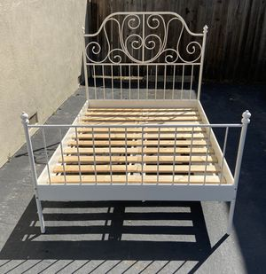 Metal bed frame with slat boards (full size bed) $80 for Sale in Costa Mesa, CA
