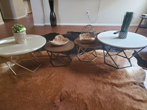 4 Round Coffee Tables + Decor (also sold separately) for Sale in Las Vegas, NV