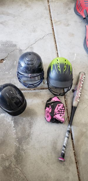 Helmets, small glove and softball bat for Sale in Victorville, CA