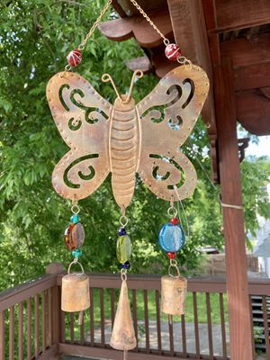 Brass Butterfly Wind Chime Sun Catcher With Glass Beads & Recycled Rustic Bells for Sale in Nashville, TN