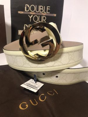 Gucci White Leather Interlocking GG Belt *Authentic* for Sale in Queens, NY