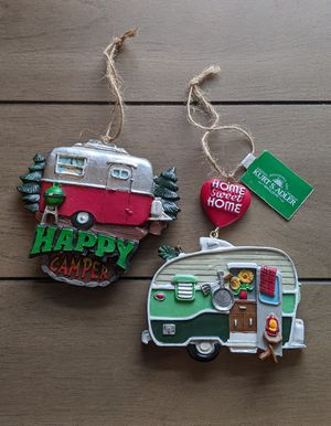 Happy Camper Retro Travel Trailer Christmas Ornaments Tiny Home Camping Gift for Sale in Harvard, IL