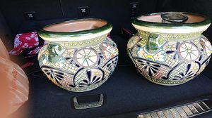 Pair of terracotta clay flower pots for Sale in Henderson, NV