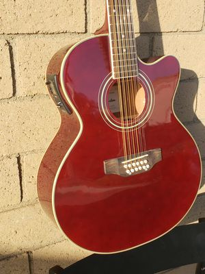New 12 String Acoustic Electric Requinto Guitar Burgundy Combo with Gig Bag & Accessories Guitarra Electrica Acústica Docerola 12 Cuerdas for Sale in South Gate, CA