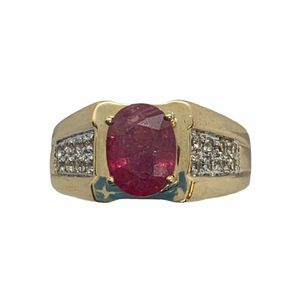 Elegant 10K Yellow Gold Women's Oval Pink Stone Ring 6.6 Grams Size 10 for Sale in Norwalk, CA
