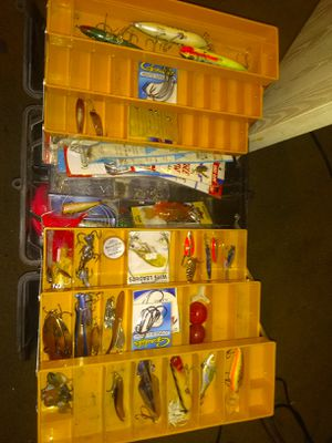 Fishing gear with box for Sale in Albuquerque, NM
