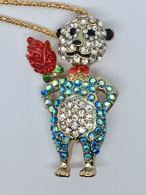 Betsey Johnson Crystal Teddy Bear Necklace Pendant for Sale in Minneola, FL