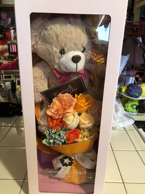 New light up rose with bear and rose bouquet in a gift box for Sale in Fresno, CA