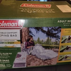 Adult Sleeping Bag for Big and Tall Campers 3 Season Coleman 30-70 Degrees for Sale in National City, CA