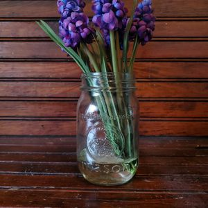 Mason Jar Vase With Faux Muscari Purple Flowers for Sale in Delaware, OH