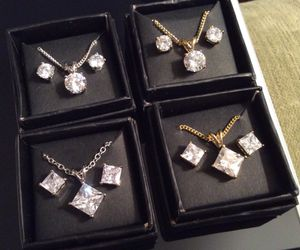"""Swarovski-style Crystal """"Diamond"""" Stud Earrings and Necklace 3-pc set for Sale in Cambridge, MA"""