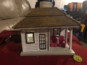 """Summer Fairy House that Lights up with two Chairs in front. (8.25"""" x 4.75"""") 7"""" Tall for Figurines, Dolls, Dollhouse, Fairies, Fairy Garden, Easter, S for Sale in Plainfield, IL"""