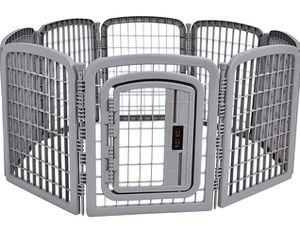 8-Panel Plastic Pet Pen Fence Enclosure With Door, Grey for Sale in Chandler, AZ