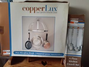 Copper Lux hanging pot rack and utensil set NEW for Sale in Philadelphia, PA