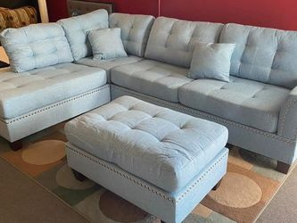 New👑•Blue 3pcs Sectional Sofa w/Ottoman for Sale in Las Vegas,  NV